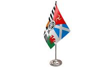Celtic Nations Satin Flag with Chrome Base Table Desk Flag Set