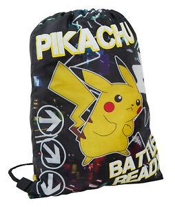 Boys Pokemon Glow In The Dark Drawstring Gymbag Pikachu School Lunch PE Swim Bag