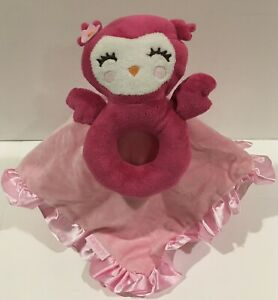 Carters Pink Owl Rattle Ring Security Blanket Lovey Minky & Satin Ruffle Trim