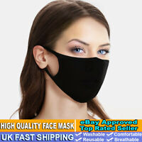 BLACK REUSABLE COTTON FACE MASK MOUTH COVERING VIRUS DUST PROTECTION WASHABLE UK