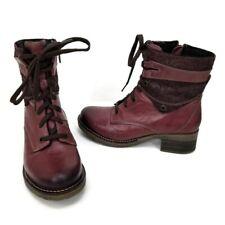 Dromedaris Kara Boots Womens 37 Violet Leather Zipper Lace Up Ankle Combat