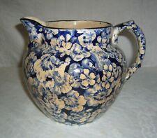 ANTIQUE 1905-10 BUFFALO POTTERY BLUE TRANSFERWARE GERANIUM LARKIN SOAP PITCHER