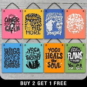 Hanging Metal Yoga Calm Motivational Quote Sign Plaque Gift Fitness Vegan Colour