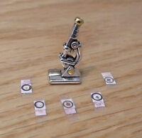 1/12 dolls house Miniature handmade Microscope Doctors desk Office Study Desk