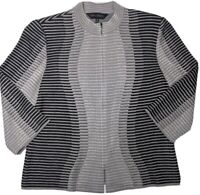 MING WANG Zip Up Cardigan Sweater Jacket M Black Gray Wavy Striped Abstract
