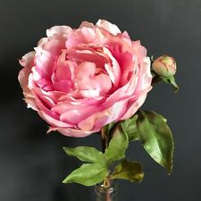 Large Pink Peony with Bud, Realistic Artificial Luxury Faux Silk Flowers Peonies