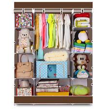 "65"" Portable Closet Storage Organizer Wardrobe Clothes Rack With Shelves Coffee"