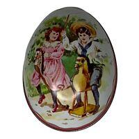 Vintage Easter Egg Swiss Made Ian Logan Tin Children On Hobby Horses Pink