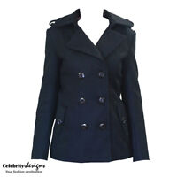 Womens Double Breasted Black Ladies Winter Wool Coat Jacket 10 12 14 wc8 IN HAND