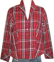 Talbots Petites Red Plaid Long Sleeve Stretch Button-Down Shirt Size PS