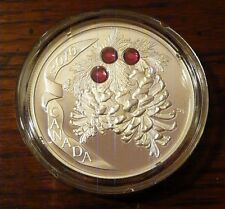 2010 Canadian Holiday Pine Cone ( Ruby ) Crystal $20 Silver Proof
