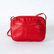 True Vintage 80's Red Retro Leather Small Clutch Handbag Shoulder Bag Purse