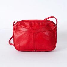 True Vintage 80's Red Retro Leather Small Clutch Handbag Shoulder Bag Purse