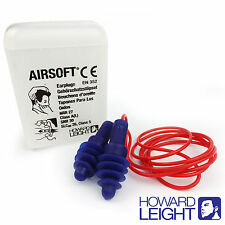 5 Pair Reusable HOWARD LEIGHT by Honeywell Earplugs - Airsoft Corded Ear plugs