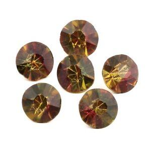 Lot (6) rare Czech antique honey topaz bicolor glass rhinestones 9mm
