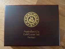 AUSTRALIAN Perth Nuovo di zecca Lunar Serie 1 MEDAGLIA Box per 1 once monete d'oro 1996 - 2007