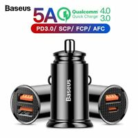 Baseus Quick Charge 4.0 3.0 USB Car Charger QC4.0 QC3.0 5A Fast PD Car Charging