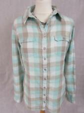 WEIRD FISH Ladies Pale Blue Beige White Checked Cotton Shirt Blouse Top Size 14