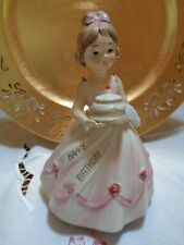 "Vintage Girl Birthday Figurine Revolving Music Box "" Happy Birthday "" Japan"