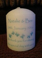 Midsize Personalised Candle Wedding Favours (1 sided printing) set of 10