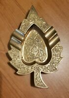 Vintage Detailed Leaf Shape Handcrafted Brass Ashtray Collectible India
