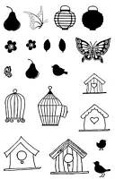 Birdcages, Birdhouses, Birds, Butterflies Unmounted Rubber stamps - SA-6075