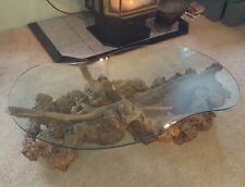 Elegant Driftwood Glass Top  Coffee Table