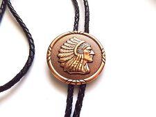 Design, Metal tips, Black Bolo Tie Copper tone Chief Head Round Southwestern