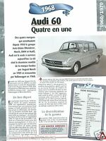 AUDI 60 Coupe Berline Break 4 Cyl. 1968 Germany Car Auto Retro FICHE FRANCE