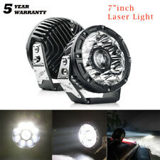"7""inch Laser LED Round Work Light Bar Headlight Spot Driving Car Head Lamp Pair"