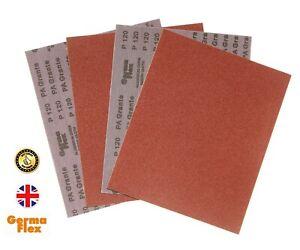 Emery Cloth Abrasive Sandpaper Sheets Sand Paper Grade Grits 40-400 Germa Flex