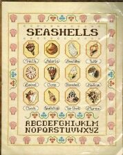 Vtg SHELLS Seashells  Alphabet Cross stitch Sampler KIT Conchology Janlynn