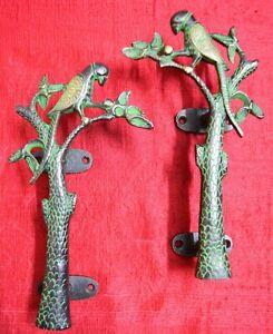 Parrot Brass Door Handle Pair Bird Tree Design Couple Vintage Style Handmade VR