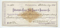 1881 Philadelphia PA RN-G1 check American Entomological Society [y3800]