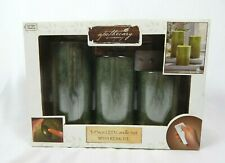 Apothecary & Company Green 3-Piece Led Ambient Candle Set with Remote