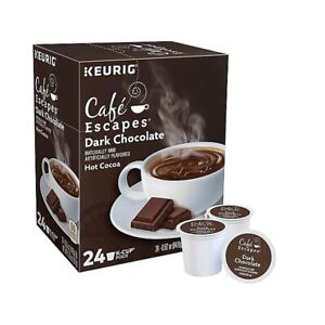 48 Cafe Escapes Dark Chocolate Hot Cocoa Keurig K-Cup Pods (2 Boxes of 24)
