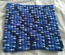 Hand knitted baby blanket blue