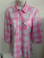 NEW WOMAN'S LADIES 100% COTTON  LIGHTWEIGHT COOL PINK CHECK SHIRT 3/4 SLEEVE