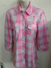 NEW WOMAN'S LADIES 100% COTTON QUALITY LIGHTWEIGHT LENGTH CHECK SHIRT 3/4 SLEEVE