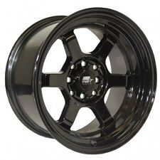 MST Wheels Time Attack Rims 15x8 4x100 4x114.3 +0 Offset Stepped Lip Black NEW
