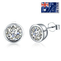 Women Man 925 Silver Filled CZ Crystal Classic 10mm Stud Earrings Stunning Gift