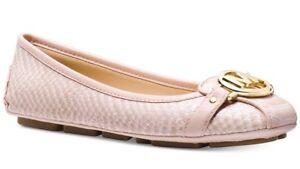 New Michael Kors fulton Ballet flat MK logo soft pink leather Moc snake embossed