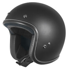 L Large DriRider Low Profile Open Face Motorbike Helmet Matt Black Peak Visor