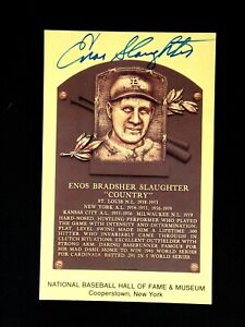 ENOS SLAUGHTER JSA CERTIFIED SIGNED HOF GOLD PLAQUE YELLOW POSTCARD AUTOGRAPH