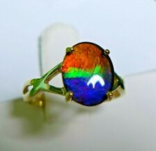Ammolite (10 x 8)mm 10K Gold Ring, Size 6, Certificate