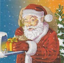 2 Serviettes en papier Père Noël Cadeau Decoupage Paper Napkins Santa's Surprise