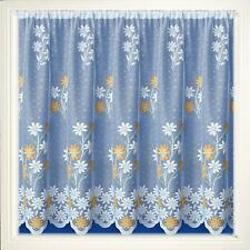 YELLOW GOLD MARIGOLDS DAISY FLOWERS WHITE FLORAL LACE NET CURTAIN SOLD PER METRE