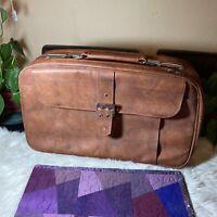 "Samsonite Vintage Brown Soft Leather Luggage - Retro Suitcase 22"" X 8"" X 12"""