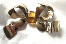 Jolle Sterling SIlver BOW Bowtie Pin Brooch Topaz Colored Glass huge showy state