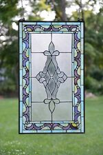"20"" x 34"" Large Handcrafted stained glass Beveled window panel"